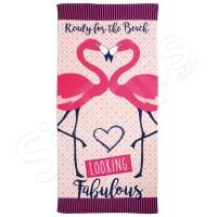 """Дамска розова плажна кърпа Alfresco """"Looking Fabulous Flamingo"""""""
