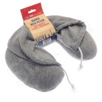 Възглавница за път с качулка и пълнеж в сиво