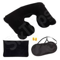 Черен комплект за път от надуваема възглавница, тапи за уши и маска за очи