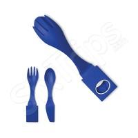 Комплект прибори за хранене в синьо за пътуване
