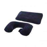 Синя надуваема възглавница за път с калъфче