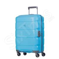 Светло син твърд куфар с четири колела Puccini 55см
