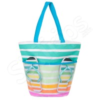 Цветна плажна чанта и джапанки комплект